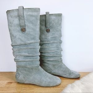 UGG Grey Suede Leather Slouch Boots